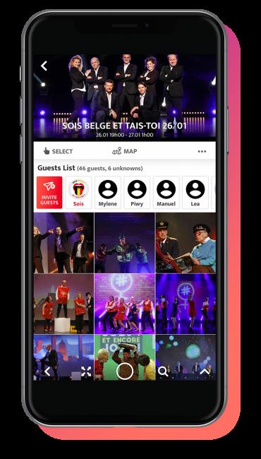 partage de photos evenement dans l'application